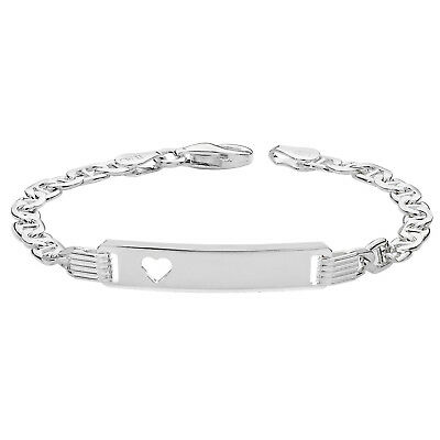 925 Sterling Silver Personalised ChristenIng Baby Anchor Heart ID Bracelet 5.5""