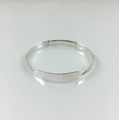 925 Sterling Silver Personalised Baby ID Adjustable Bangle 3.52gr FREE ENGRAVING