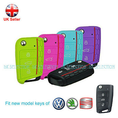 VW Car Key Cover for Golf MK7 2014 2015 Silicone Protection Honeycomb 8 colours