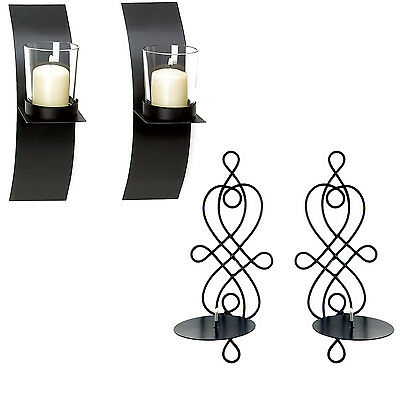 Home Decor Modern Art Candle Holder Wall Sconce Black Wire Metal Plaque Set Pair