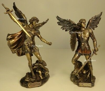 PAIR OF ** ST MICHAEL ARCHANGEL Standing on Demon Figurine Statue