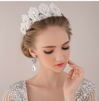 Luxury Pearl Bridal Crown Tiara Crystal Rhinestone Wedding Prom Pageant Headband
