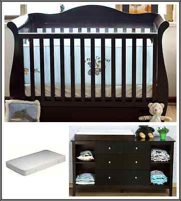 Walnut Zealand Pine 3-in-1 Baby Sleigh Cot Bed & 4 Drawers Change Table Package