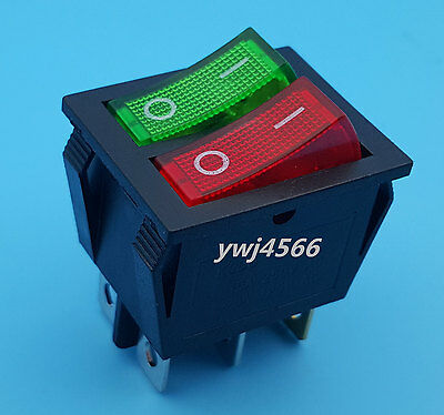 Red Green Light 6Pins Double SPST On/Off Rocker Boat Switch AC 250V/15A 125V/20A