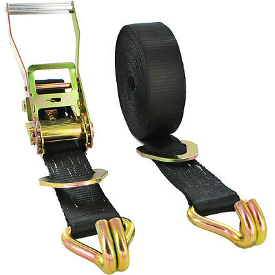 5000kg x 7.5m BLACK Ratchet Strap With Floating D-Ring