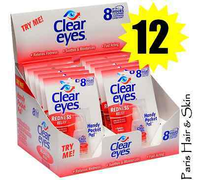 CLEAR EYES  DROPS 12 PACK REDNESS RELIEF 12 HOURS relief 0.2oz / 6ML Exp 2019