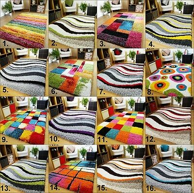 New Small Large Thick Modern Colourful Shaggy Rugs Bright Vibrant Soft Mats Uk