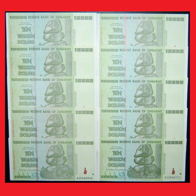 Zimbabwe 100 Trillion Dollars (10 X 10 Trillion) 2008 Aa | Over 50 In Stock!
