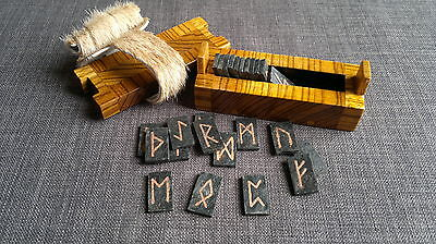 Rune set forged iron inlayed copper elder futhark pagan Norse Viking Wicca stone
