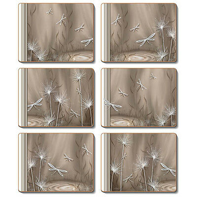 LATTE DRAGONFLY Set of 6 Placemats and Coasters Lisa Pollock Cork Back