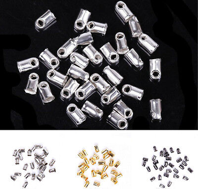 100Pcs End Cord Tube Tip Caps End Rope Jewelry Making Findings 5x3.5mm