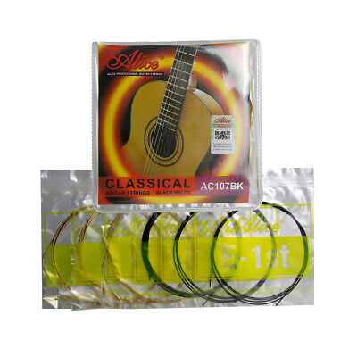 NEW Set Classical Guitar Strings Black Nylon & Gold Plated Copper Alloy Wound