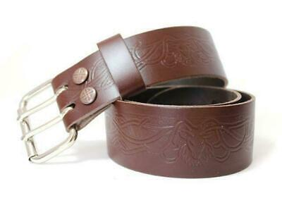 Brown Leather Utility Kilt Belt with Stag Design Double Pronged Removable Buckle