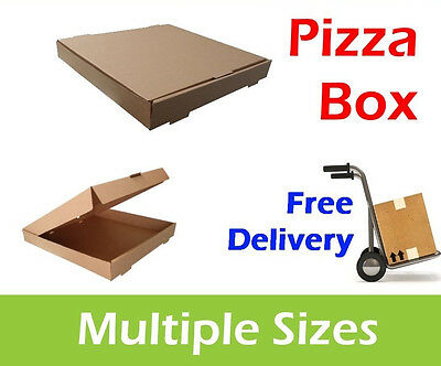 100 Plain Brown Pizza Boxes, Takeaway Pizza Box, Postal Boxes, Multiple Sizes