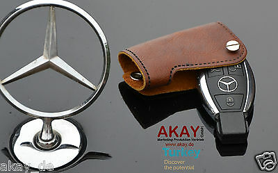 Remote Fob Leather Key Cover Case Holder for Mercedes C-Class W203  Brown New