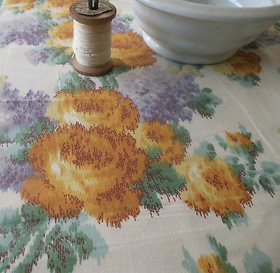 Antique Cottage Watered Roses Lilac Floral Cotton Fabric~ Lavender Yellow~ 1900
