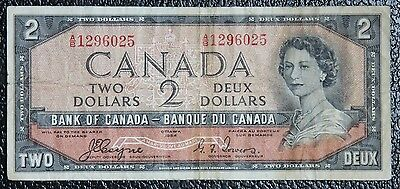 BANK OF CANADA - 1954 $2 DEVIL'S FACE NOTE - Prefix A/B - Signed Coyne & Towers