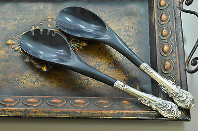 925 Sterling Silver Victorian Floral Handle Serving Spoon/Spork Pair