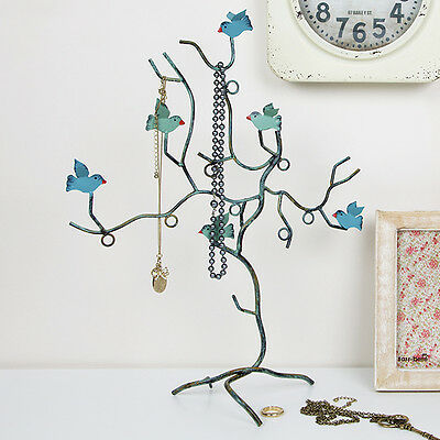 Jewellery Holder Stand Bird Branch Decorative Design Teal Necklace Bracelets