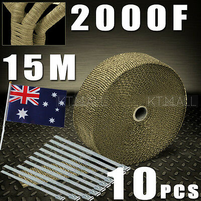 AU Local WRAP 50MM X 15M + 10 STAINLESS STEEL TIES 2000F TITANIUM EXHAUST HEAT