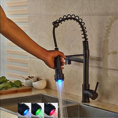 Oil Rubbed Bronze Pull Down Kitchen Spring Faucet LED Light Basin Sink Mixer Tap