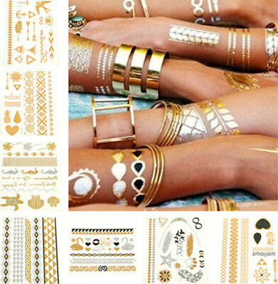 22 Patterns Golden Temporary Metallic Body Tattoo Stickers Decals Paper Sheets