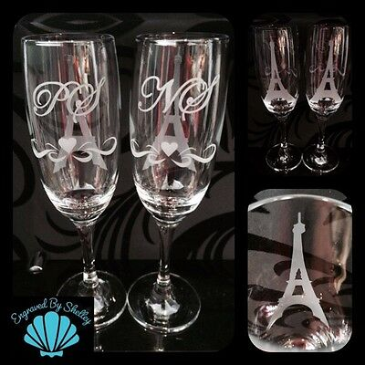 Personalised Wedding Champagne Flutes! Eiffel Tower Paris Love Handmade Gift!