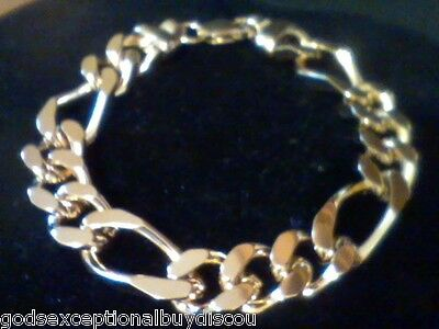Mens 14K Gold & Bz  Big  Figaro Bracelet Sz 8.5 Inch  Italian 45 Gr Adjustable