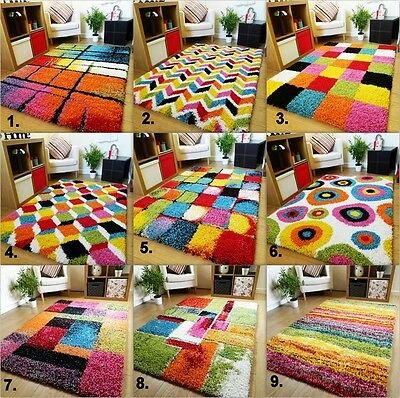 Large Modern Bright Vibrant Colours Soft Thick Shaggy Medium Rug Mats Cheap Rugs