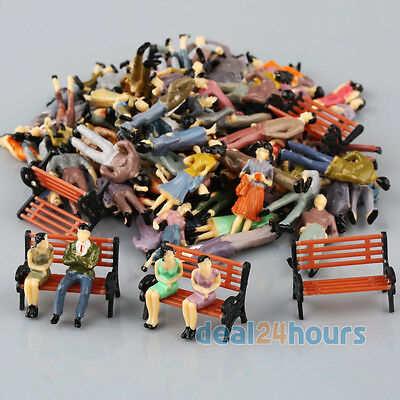 100 Painted 1:50 Model People Passenger Figures+5 Park Bench Scenery O Scale