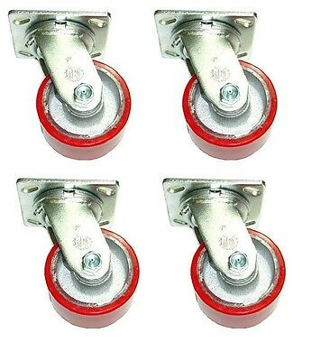 """Set of 4 Swivel Plate Casters with 4"""" x 2"""" Red Polyurethane on Steel Wheels"""