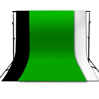Photography Chroma Key Green Screen W/ Black and White Backdrop stand Kit Set