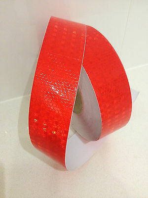 Hi-Vis Red Adhesive Vehicle Safety Reflective Tape 50mm x 2m Roll