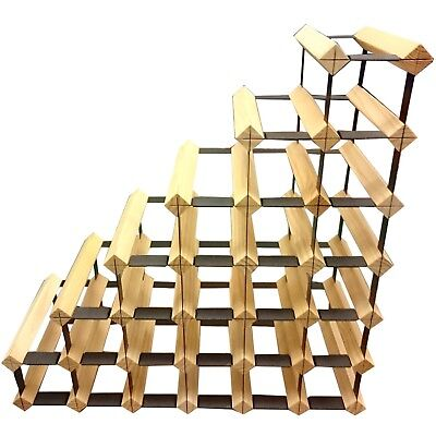 Sloped Staircase Timber Wine Rack - Holds 27 Bottles of Wine -Genuine Wine Stash