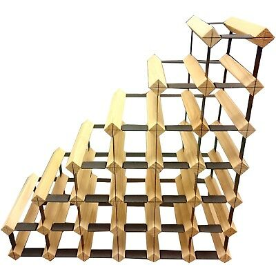 Sloped Staircase Timber Wine Rack - Natural Finish - Holds 27 Bottles of Wine