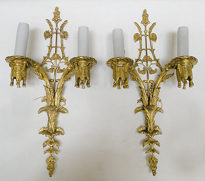 Pair of sconces French style solid and golden Bronze for 2 lights *s