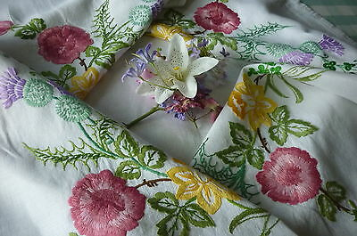 VINTAGE EMBROIDERED LINEN TABLECLOTH=EXQUISITE RAISED EMBROIDERY