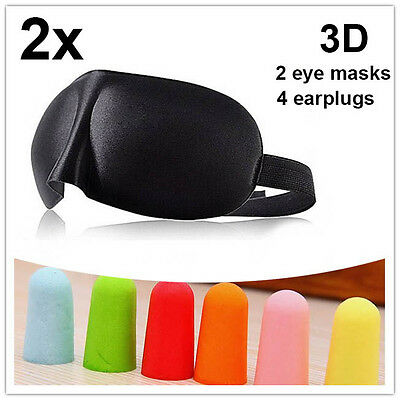 2x 3D black Sleeping Eye Mask Blindfold Earplugs Shade Test Sleep Cover Light