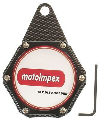 Motorcycle Tax Disc Holder Aluminium/carbon Black Bnib