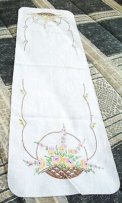 "ANTIQUE/VINTAGE HAND EMBROIDERED LINEN TABLE RUNNER DRESSER SCARF  35"" x 11"""