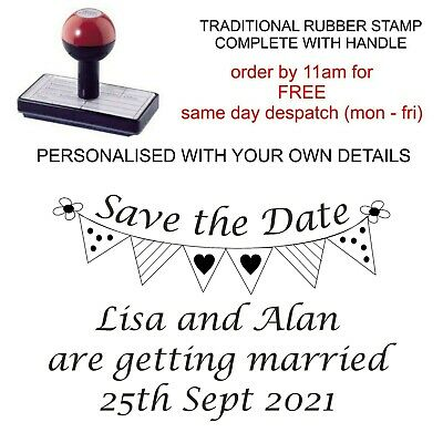 PERSONALISED SAVE THE DATE WEDDING RUBBER STAMP 11617 BUNTING BESPOKE CUSTOM