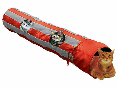 "50"" Long Striped Cat Tunnel with Peep Holes Cat Kitten Play Toy 125cm"