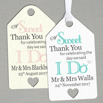 100 x Personalised Wedding Gift/Favour Tags Packs Vintage Luggage Label TG030