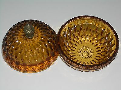 """Vtg 70s Mt Vernon Indiana Glass Amber Covered 5"""" Candy Dish Brass Pineapple top"""