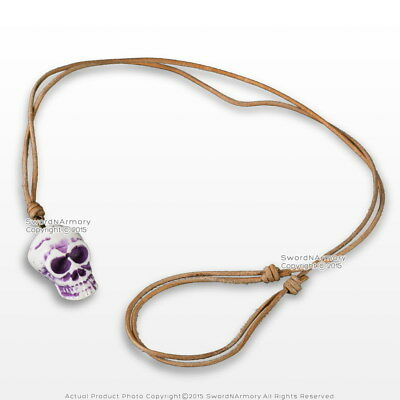 Pirates Skull Head Polished Bone Bead Pendant Adjustable Leather Cord Necklace