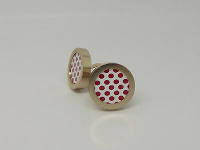 Tour De France King of the mountain cycling cufflinks pair Polka Dot Gold