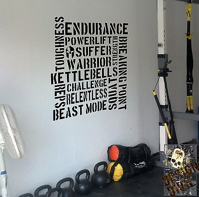 Pro Kettlebell Lifter Gym Wall Decal Quote Girevik Girevoy Crossfit Workout 32kg