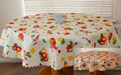 """High Quality """"FRUITS"""" Linen Look Tablecloth : Round,Square available 2 colours."""
