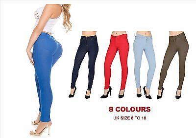 New Womens Jeggings Skinny Fit Coloured Stretchy Girls Fashion Jeans Trousers