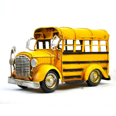 Handmade School Bus-Small Size Tinplate Antique Style Metal Model